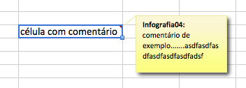 célula com comentário escondido no Excel