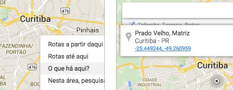 Coordenadas no Google Maps