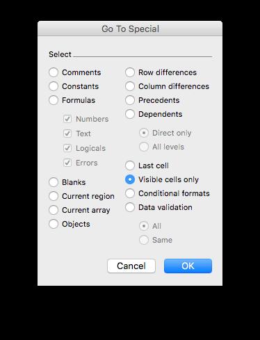 Como copiar somente células visíveis no Excel para Mac - Botão Visible Cells Only
